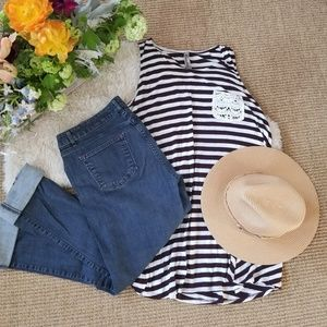 Tops - Maroon and White Stripe Tunic